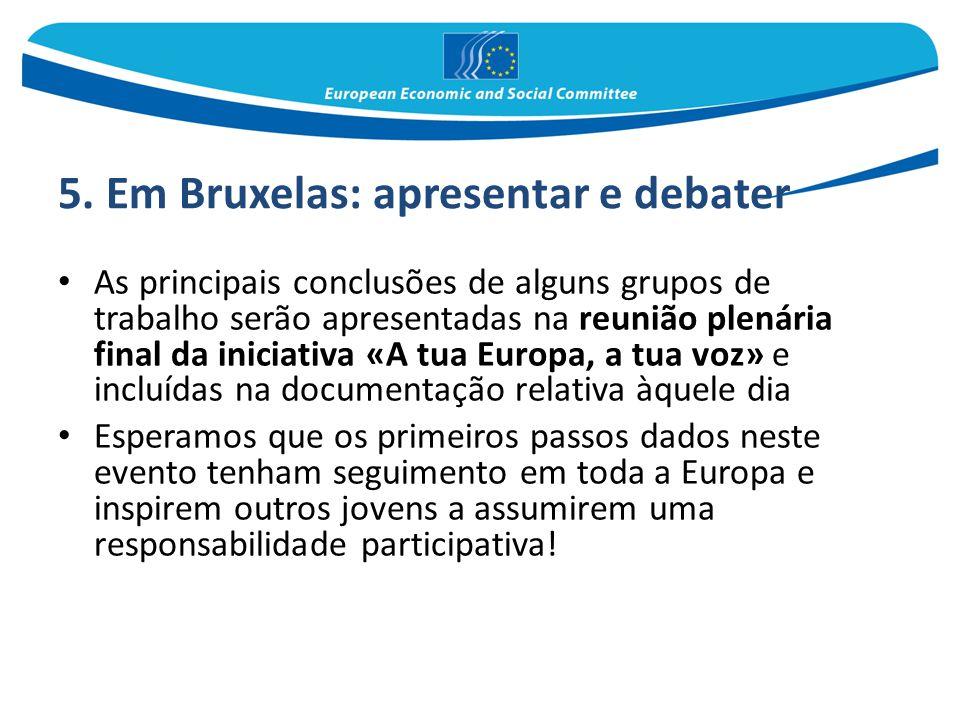 5. Em Bruxelas: apresentar e debater As principais conclusões de alguns grupos de trabalho serão apresentadas na reunião plenária final da iniciativa