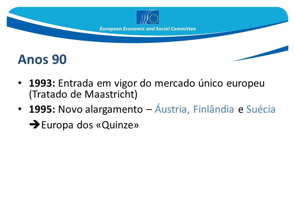 Anos 90 1993: Entrada em vigor do mercado único europeu (Tratado de Maastricht) 1995: Novo alargamento – Áustria, Finlândia e Suécia  Europa dos «Qui
