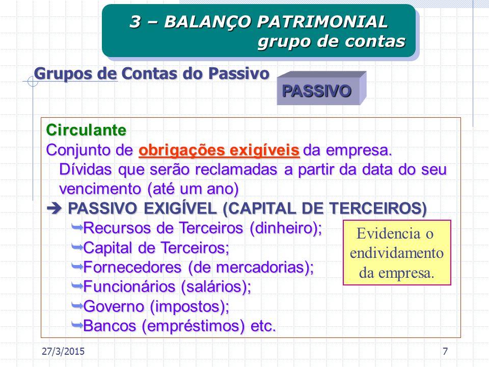 Circulante Conjunto de obrigações exigíveis da empresa.