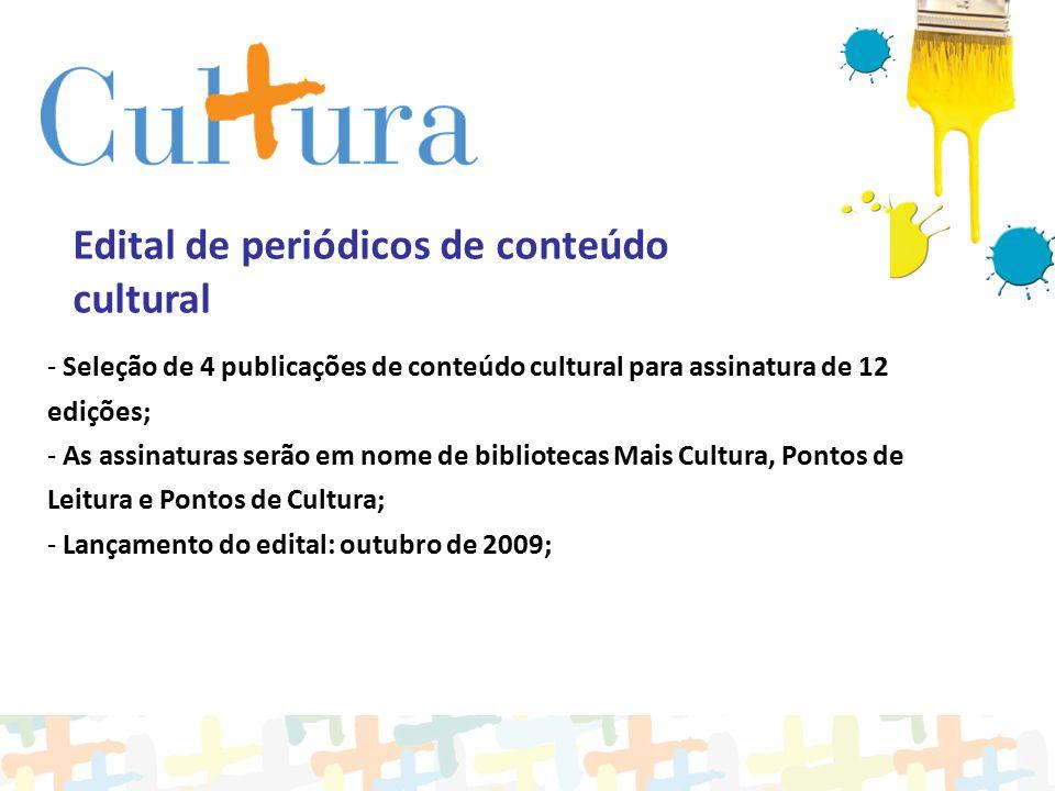 Edital de periódicos de conteúdo cultural - Seleção de 4 publicações de conteúdo cultural para assinatura de 12 edições; - As assinaturas serão em nom