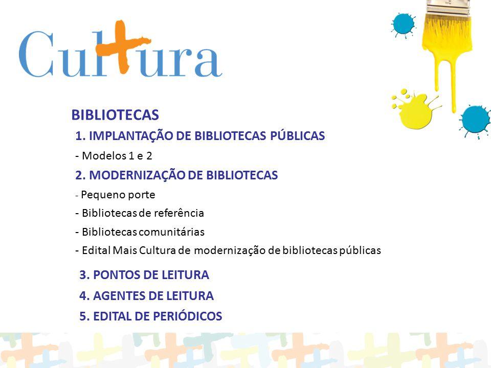 1. IMPLANTAÇÃO DE BIBLIOTECAS PÚBLICAS - Modelos 1 e 2 2. MODERNIZAÇÃO DE BIBLIOTECAS - Pequeno porte - Bibliotecas de referência - Bibliotecas comuni