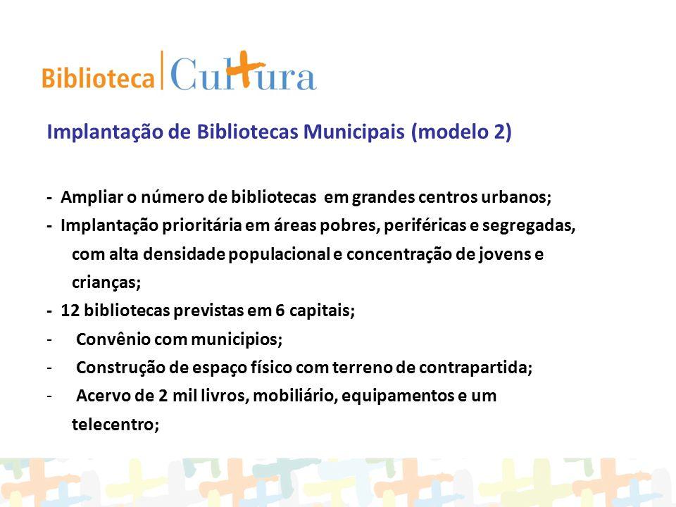 Implantação de Bibliotecas Municipais (modelo 2) - Ampliar o número de bibliotecas em grandes centros urbanos; - Implantação prioritária em áreas pobr
