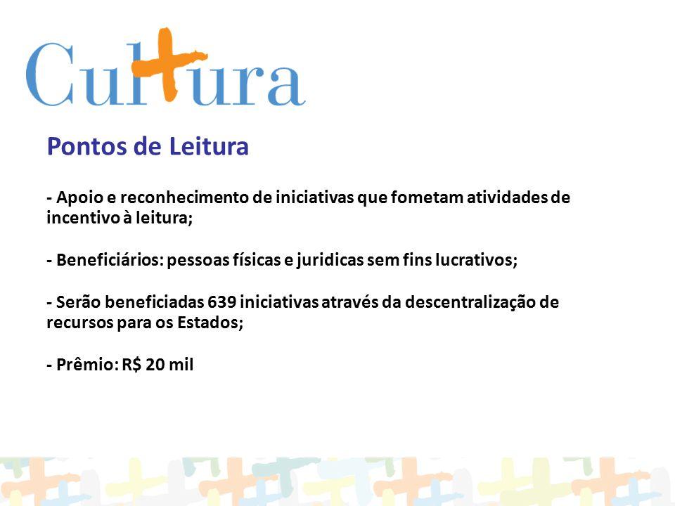 Pontos de Leitura - Apoio e reconhecimento de iniciativas que fometam atividades de incentivo à leitura; - Beneficiários: pessoas físicas e juridicas