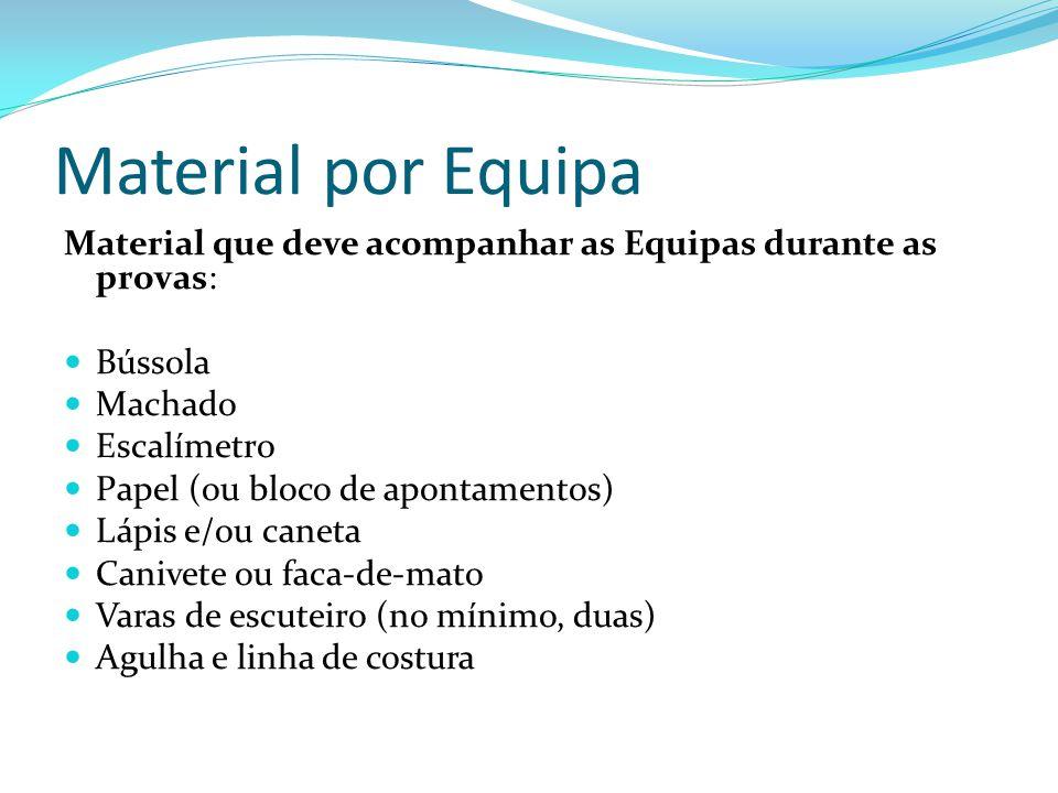 Material por Equipa Material que deve acompanhar as Equipas durante as provas: Bússola Machado Escalímetro Papel (ou bloco de apontamentos) Lápis e/ou