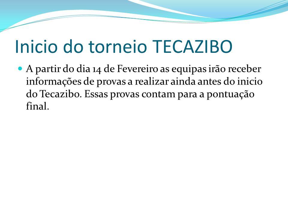 Inicio do torneio TECAZIBO A partir do dia 14 de Fevereiro as equipas irão receber informações de provas a realizar ainda antes do inicio do Tecazibo.