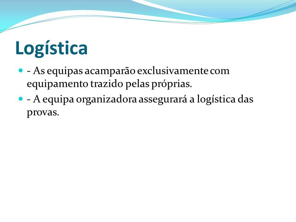 Logística - As equipas acamparão exclusivamente com equipamento trazido pelas próprias. - A equipa organizadora assegurará a logística das provas.