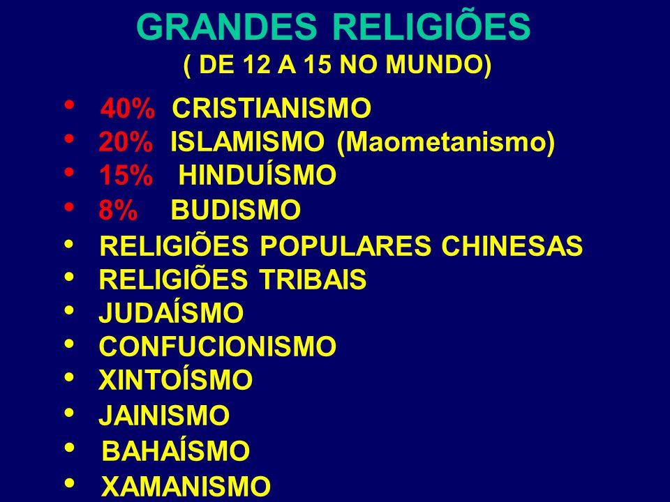 GRANDES RELIGIÕES ( DE 12 A 15 NO MUNDO) 40% CRISTIANISMO 20% ISLAMISMO (Maometanismo) 15% HINDUÍSMO 8% BUDISMO RELIGIÕES POPULARES CHINESAS RELIGIÕES TRIBAIS JUDAÍSMO CONFUCIONISMO XINTOÍSMO JAINISMO BAHAÍSMO XAMANISMO