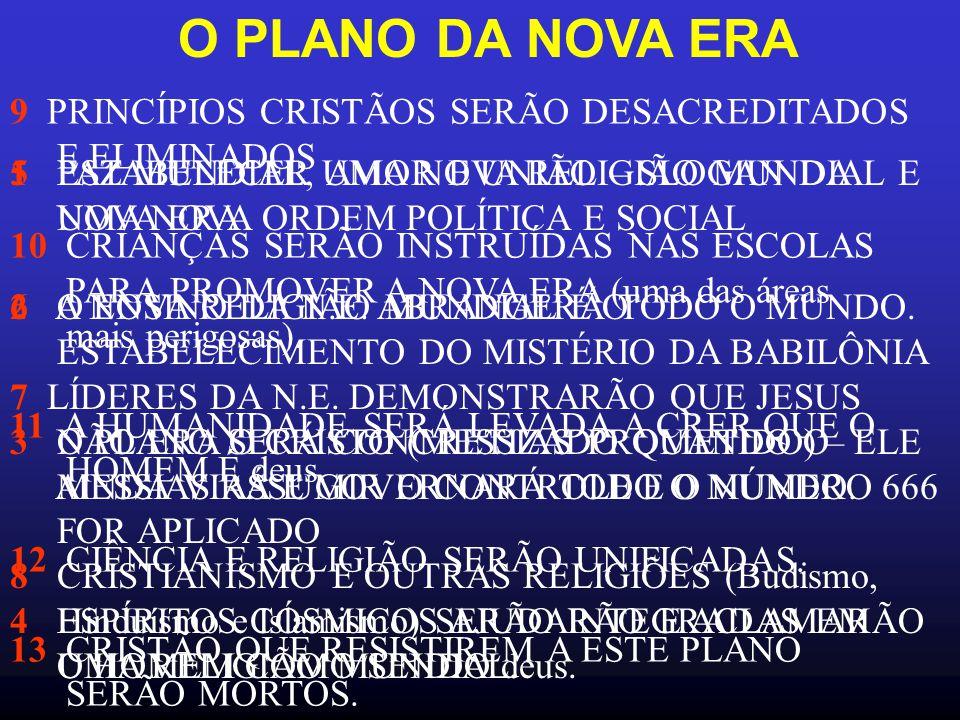 O PLANO DA NOVA ERA 1 ESTABELECER UMA NOVA RELIGIÃO MUNDIAL E UMA NOVA ORDEM POLÍTICA E SOCIAL 2 A NOVA RELIGIÃO MUNDIAL É O ESTABELECIMENTO DO MISTÉRIO DA BABILÔNIA 3 O PLANO SERÁ CONCRETIZADO QUANDO O MESSIAS ASSUMIR O CONTROLE E O NÚMERO 666 FOR APLICADO 4 ESPÍRITOS CÓSMICOS AJUDARÃO E ACLAMARÃO O HOMEM COMO SENDO deus.