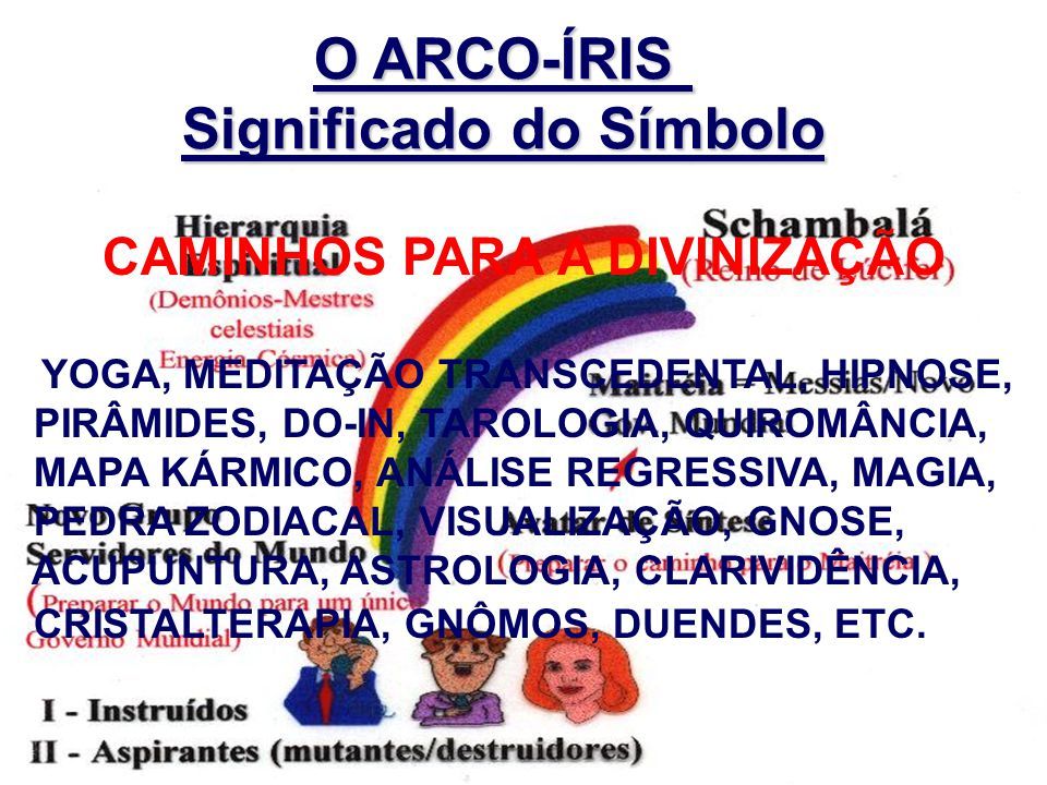 O ARCO-ÍRIS Significado do Símbolo CAMINHOS PARA A DIVINIZAÇÃO YOGA, MEDITAÇÃO TRANSCEDENTAL, HIPNOSE, PIRÂMIDES, DO-IN, TAROLOGIA, QUIROMÂNCIA, MAPA KÁRMICO, ANÁLISE REGRESSIVA, MAGIA, PEDRA ZODIACAL, VISUALIZAÇÃO, GNOSE, ACUPUNTURA, ASTROLOGIA, CLARIVIDÊNCIA, CRISTALTERAPIA, GNÔMOS, DUENDES, ETC.