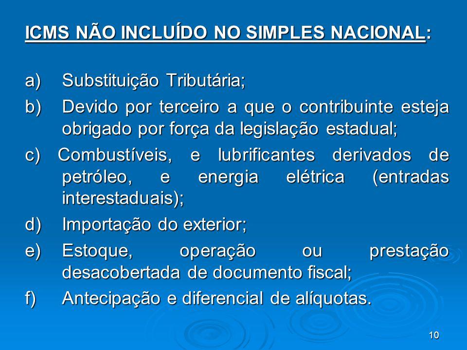 10 ICMS NÃO INCLUÍDO NO SIMPLES NACIONAL: a) Substituição Tributária; b) Devido por terceiro a que o contribuinte esteja obrigado por força da legisla