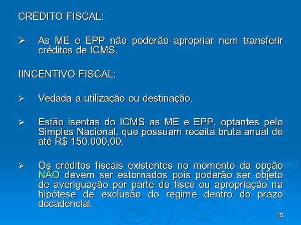 15 CRÉDITO FISCAL:  As ME e EPP não poderão apropriar nem transferir créditos de ICMS. IINCENTIVO FISCAL:  Vedada a utilização ou destinação.  Estã