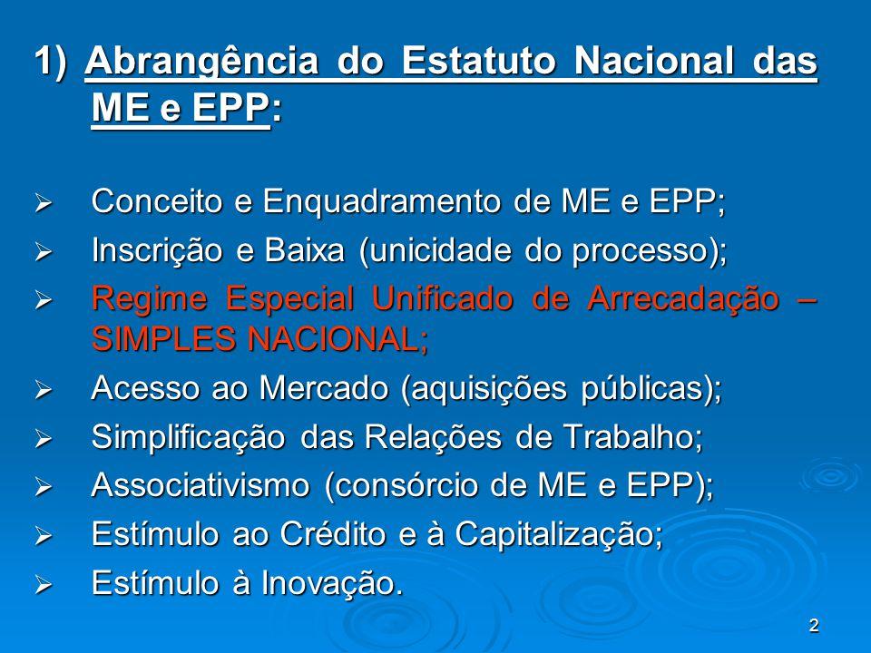 2 1) Abrangência do Estatuto Nacional das ME e EPP:  Conceito e Enquadramento de ME e EPP;  Inscrição e Baixa (unicidade do processo);  Regime Espe