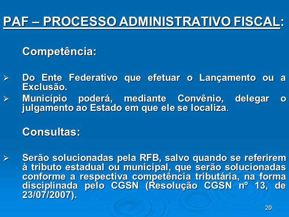 20 PAF – PROCESSO ADMINISTRATIVO FISCAL: Competência:  Do Ente Federativo que efetuar o Lançamento ou a Exclusão.  Município poderá, mediante Convên