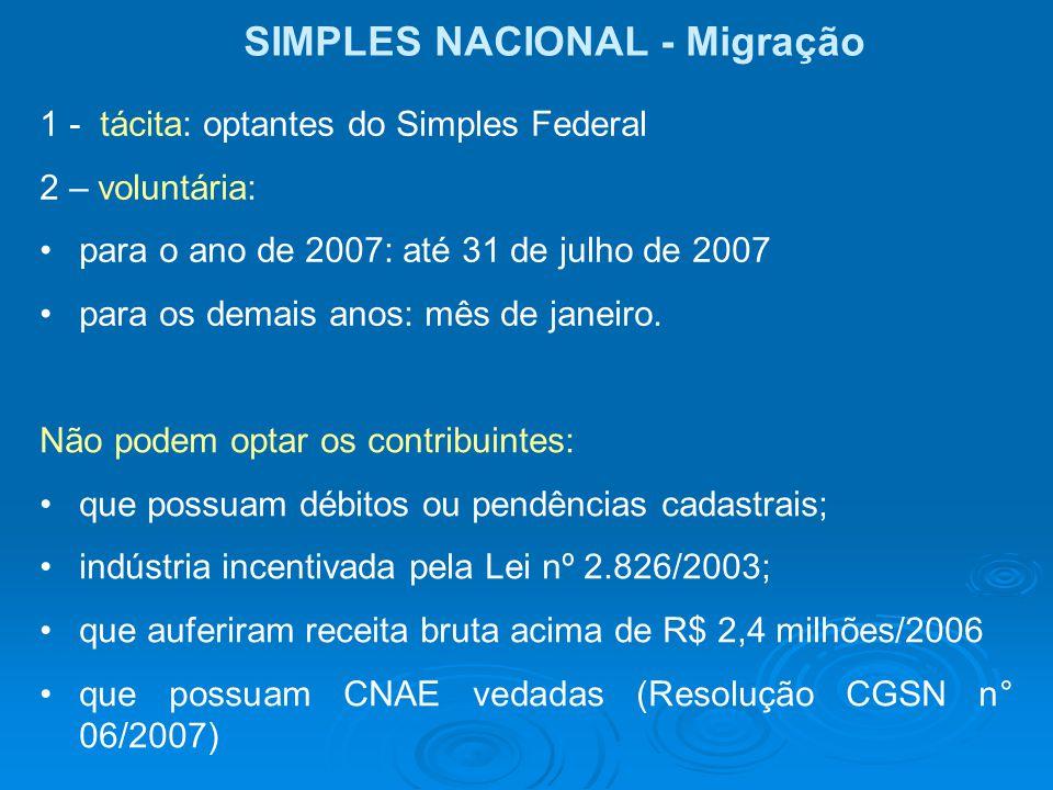 SIMPLES NACIONAL - Migração 1 - tácita: optantes do Simples Federal 2 – voluntária: para o ano de 2007: até 31 de julho de 2007 para os demais anos: m