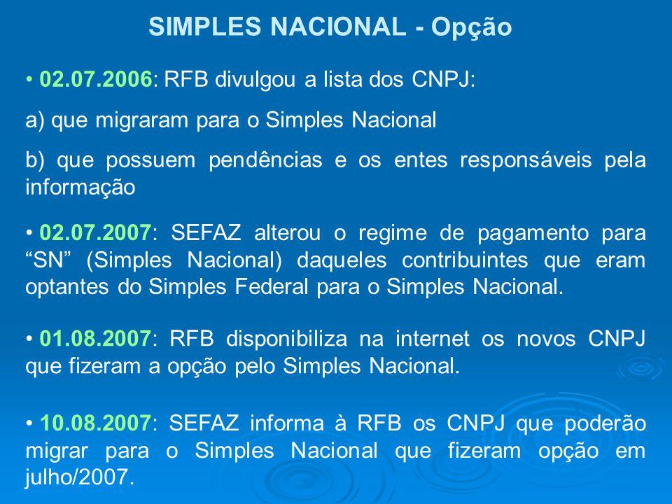 SIMPLES NACIONAL - Opção 02.07.2006: RFB divulgou a lista dos CNPJ: a) que migraram para o Simples Nacional b) que possuem pendências e os entes respo