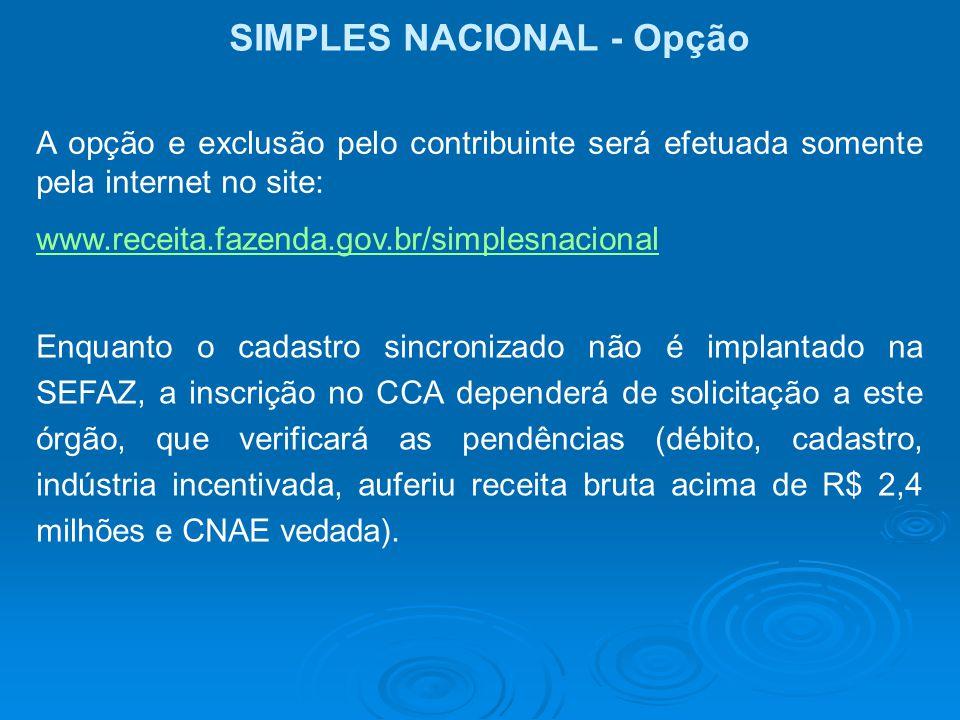 SIMPLES NACIONAL - Opção A opção e exclusão pelo contribuinte será efetuada somente pela internet no site: www.receita.fazenda.gov.br/simplesnacional