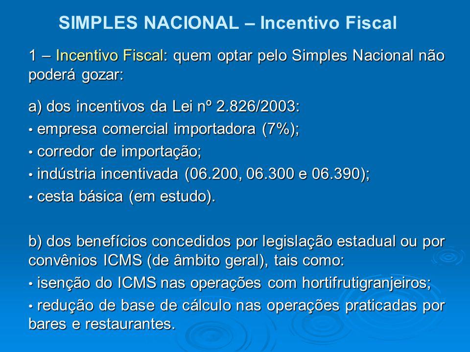 SIMPLES NACIONAL – Incentivo Fiscal 1 – Incentivo Fiscal: quem optar pelo Simples Nacional não poderá gozar: a) dos incentivos da Lei nº 2.826/2003: e