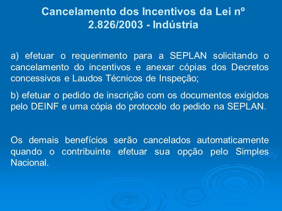 Cancelamento dos Incentivos da Lei nº 2.826/2003 - Indústria a) efetuar o requerimento para a SEPLAN solicitando o cancelamento do incentivos e anexar