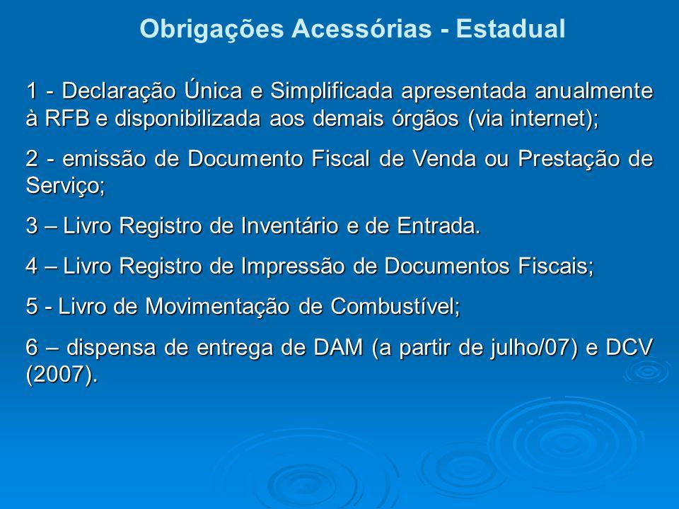 Obrigações Acessórias - Estadual 1 - Declaração Única e Simplificada apresentada anualmente à RFB e disponibilizada aos demais órgãos (via internet);