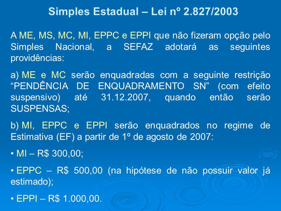 Simples Estadual – Lei nº 2.827/2003 A ME, MS, MC, MI, EPPC e EPPI que não fizeram opção pelo Simples Nacional, a SEFAZ adotará as seguintes providênc