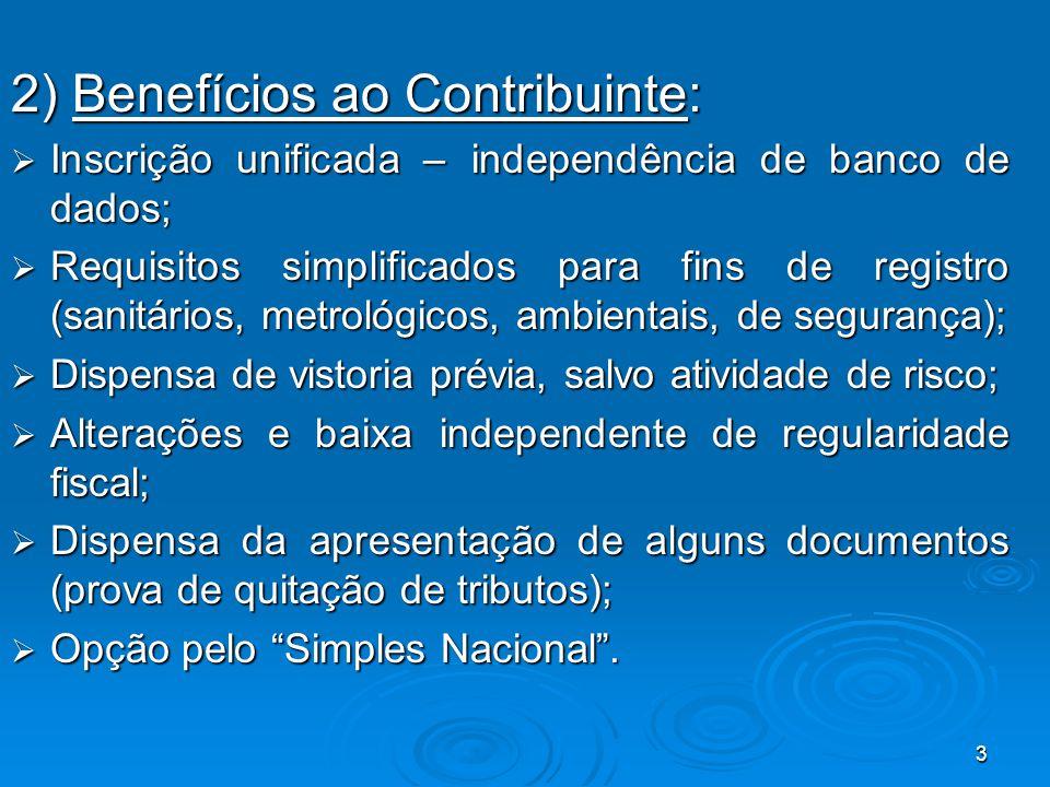 3 2) Benefícios ao Contribuinte:  Inscrição unificada – independência de banco de dados;  Requisitos simplificados para fins de registro (sanitários