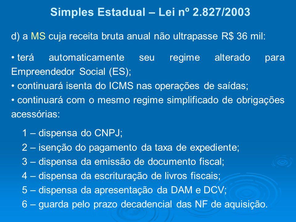 Simples Estadual – Lei nº 2.827/2003 d) a MS cuja receita bruta anual não ultrapasse R$ 36 mil: terá automaticamente seu regime alterado para Empreend