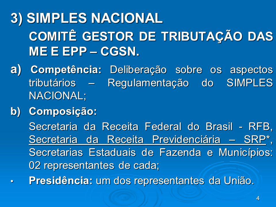 4 3) SIMPLES NACIONAL COMITÊ GESTOR DE TRIBUTAÇÃO DAS ME E EPP – CGSN. a) Competência: Deliberação sobre os aspectos tributários – Regulamentação do S