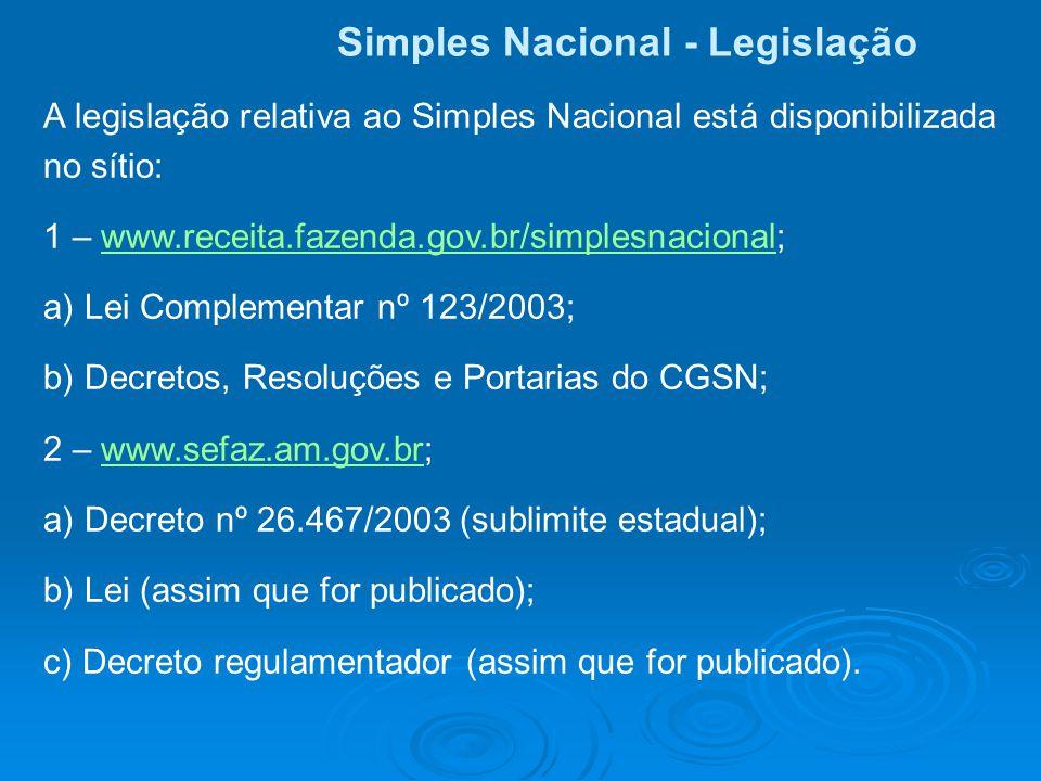 Simples Nacional - Legislação A legislação relativa ao Simples Nacional está disponibilizada no sítio: 1 – www.receita.fazenda.gov.br/simplesnacional;