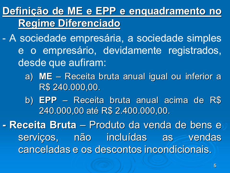 5 Definição de ME e EPP e enquadramento no Regime Diferenciado - A sociedade empresária, a sociedade simples e o empresário, devidamente registrados,
