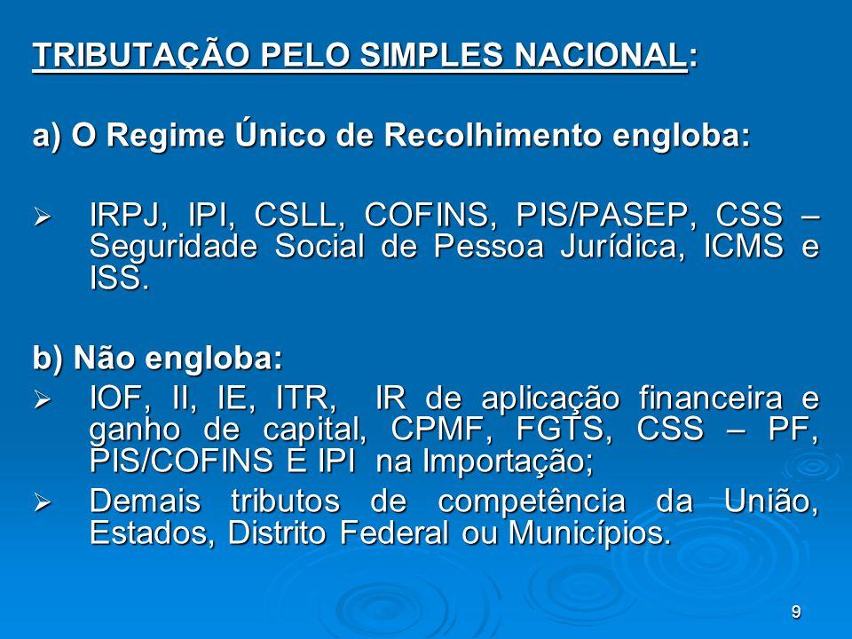 9 TRIBUTAÇÃO PELO SIMPLES NACIONAL: a) O Regime Único de Recolhimento engloba:  IRPJ, IPI, CSLL, COFINS, PIS/PASEP, CSS – Seguridade Social de Pessoa