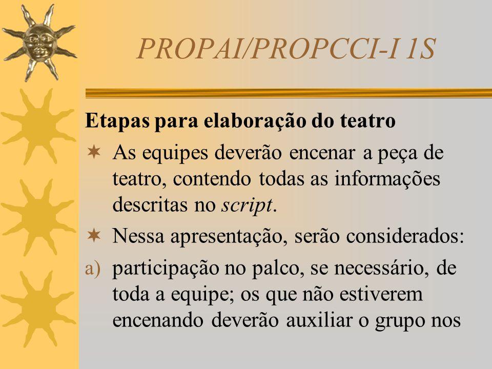 PROPAI/PROPCCI-I 1S  Observação: O script (roteiro) deve ser escrito em uma linguagem adequada à história desenvolvida pelo grupo e mostrar clareza n