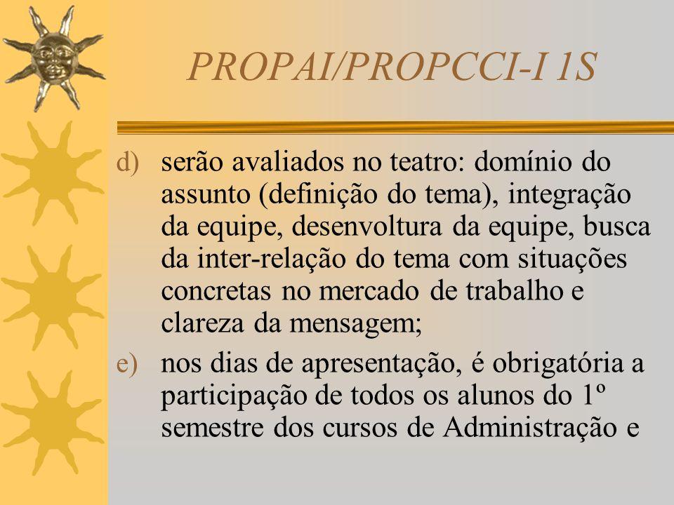 PROPAI/PROPCCI-I 1S  Avaliação  Devem-se observar os seguintes itens: a) os alunos deverão colocar em prática (encenar) o script (roteiro) elaborado