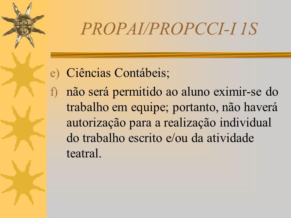 PROPAI/PROPCCI-I 1S d) serão avaliados no teatro: domínio do assunto (definição do tema), integração da equipe, desenvoltura da equipe, busca da inter