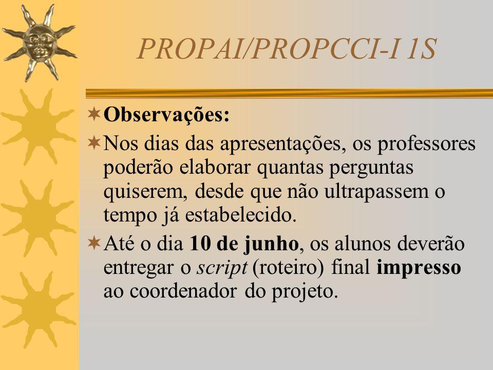 PROPAI/PROPCCI-I 1S Datas e local das apresentações Mês: Junho/2010 Dias: 14 a 18 Horário: das 19h30 às 22h30 Local: Auditório Vermelho