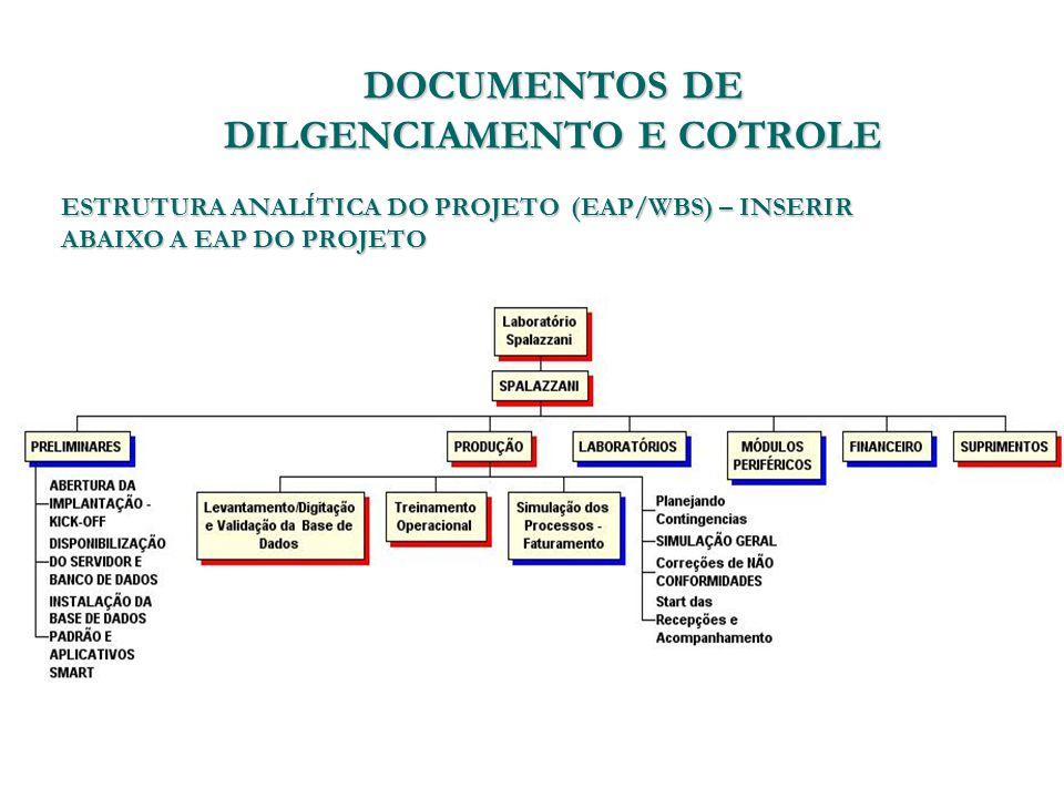 DOCUMENTOS DE DILGENCIAMENTO E COTROLE ESTRUTURA ANALÍTICA DO PROJETO (EAP/WBS) – INSERIR ABAIXO A EAP DO PROJETO