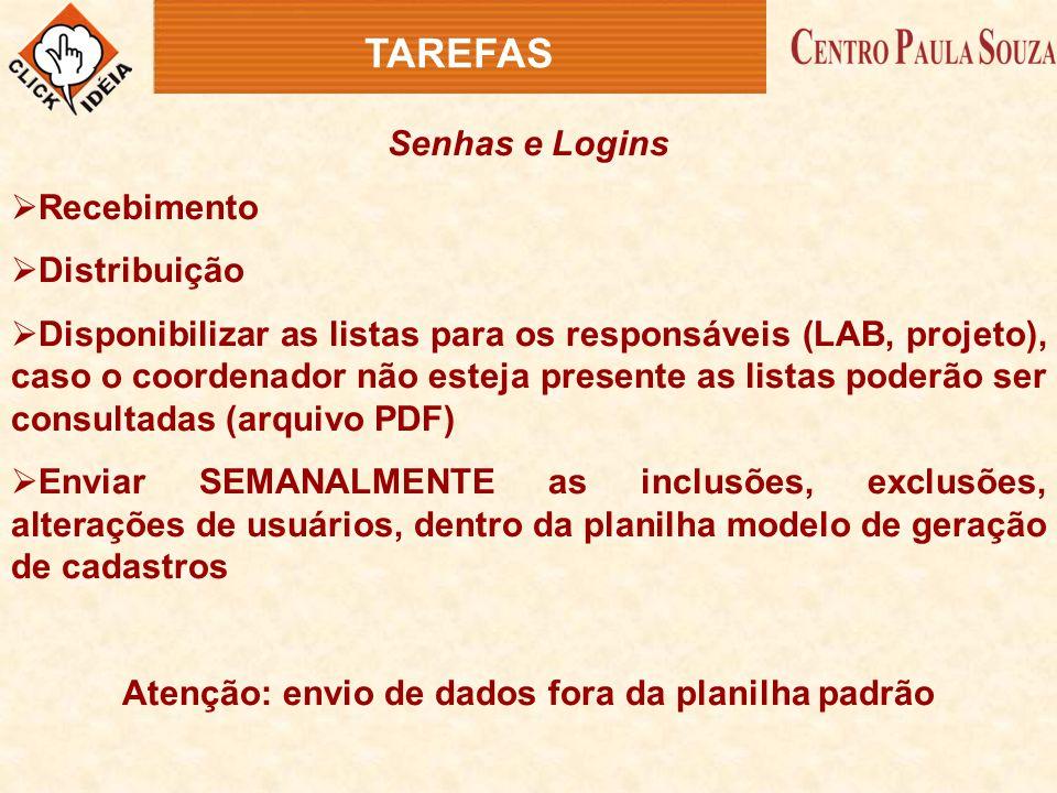 TAREFAS Senhas e Logins  Recebimento  Distribuição  Disponibilizar as listas para os responsáveis (LAB, projeto), caso o coordenador não esteja pre