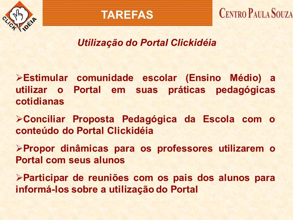 Utilização do Portal Clickidéia  Estimular comunidade escolar (Ensino Médio) a utilizar o Portal em suas práticas pedagógicas cotidianas  Conciliar