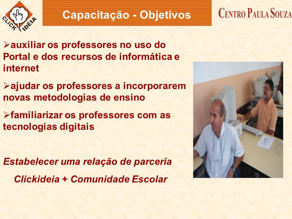  auxiliar os professores no uso do Portal e dos recursos de informática e internet  ajudar os professores a incorporarem novas metodologias de ensin