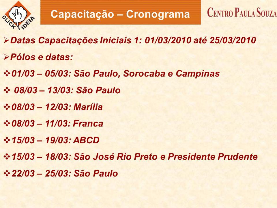  Datas Capacitações Iniciais 1: 01/03/2010 até 25/03/2010  Pólos e datas:  01/03 – 05/03: São Paulo, Sorocaba e Campinas  08/03 – 13/03: São Paulo