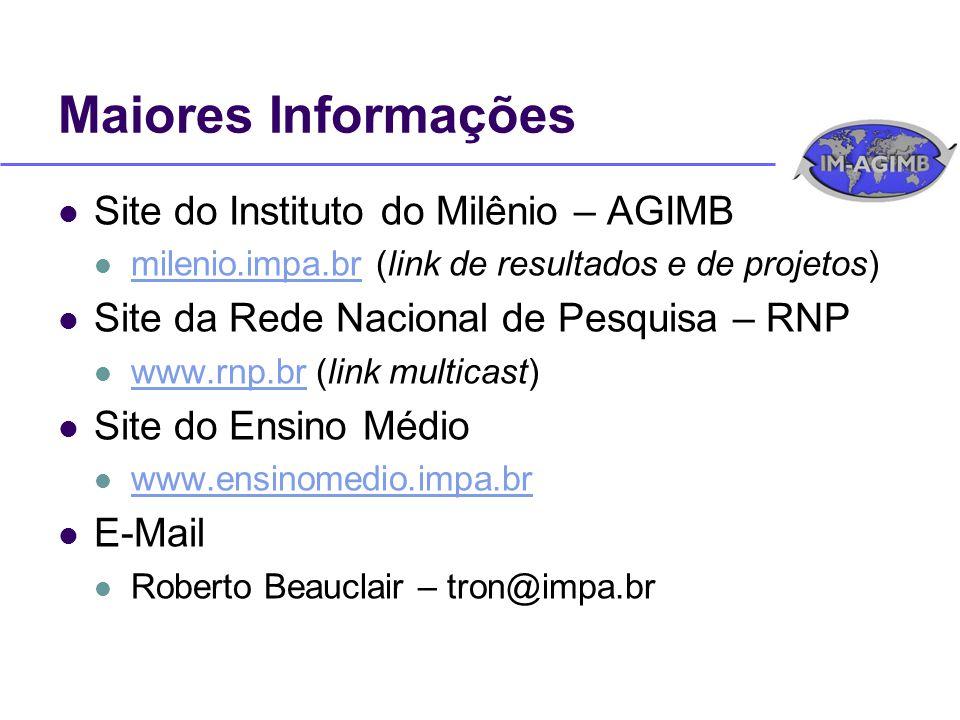 Maiores Informações Site do Instituto do Milênio – AGIMB milenio.impa.br (link de resultados e de projetos) milenio.impa.br Site da Rede Nacional de Pesquisa – RNP www.rnp.br (link multicast) www.rnp.br Site do Ensino Médio www.ensinomedio.impa.br E-Mail Roberto Beauclair – tron@impa.br
