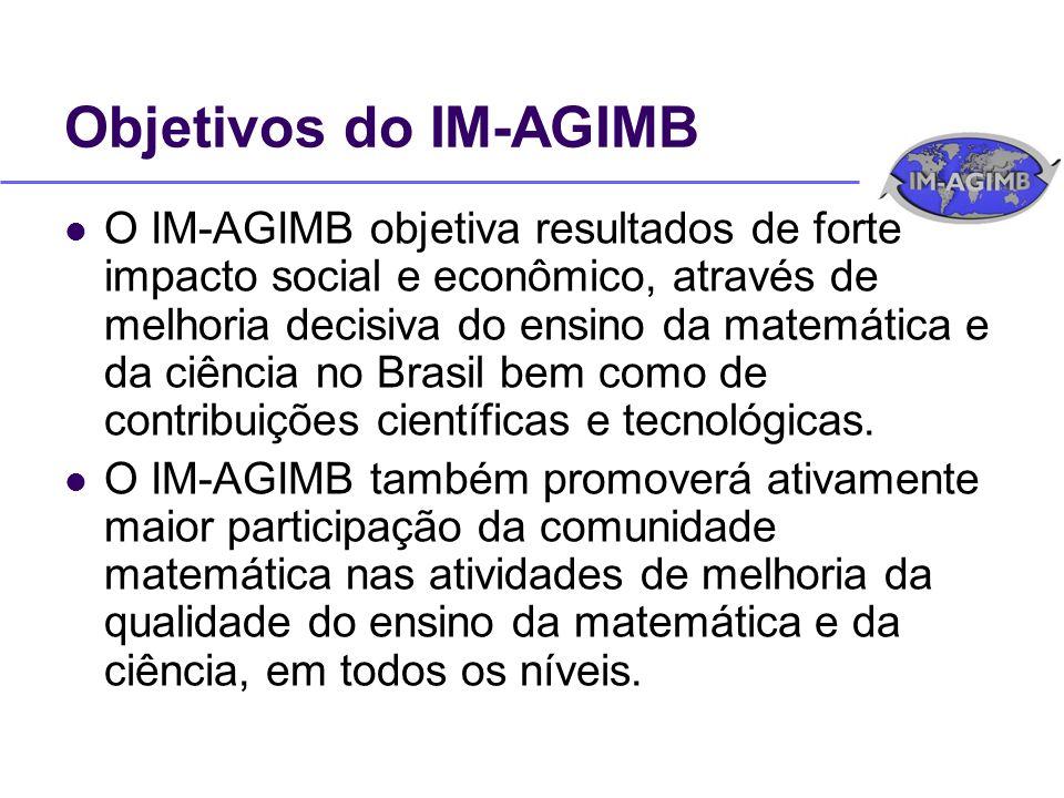 Objetivos do IM-AGIMB O IM-AGIMB objetiva resultados de forte impacto social e econômico, através de melhoria decisiva do ensino da matemática e da ciência no Brasil bem como de contribuições científicas e tecnológicas.