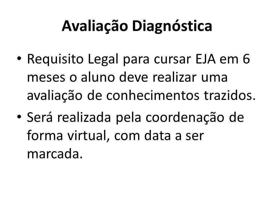 Avaliação Diagnóstica Requisito Legal para cursar EJA em 6 meses o aluno deve realizar uma avaliação de conhecimentos trazidos.
