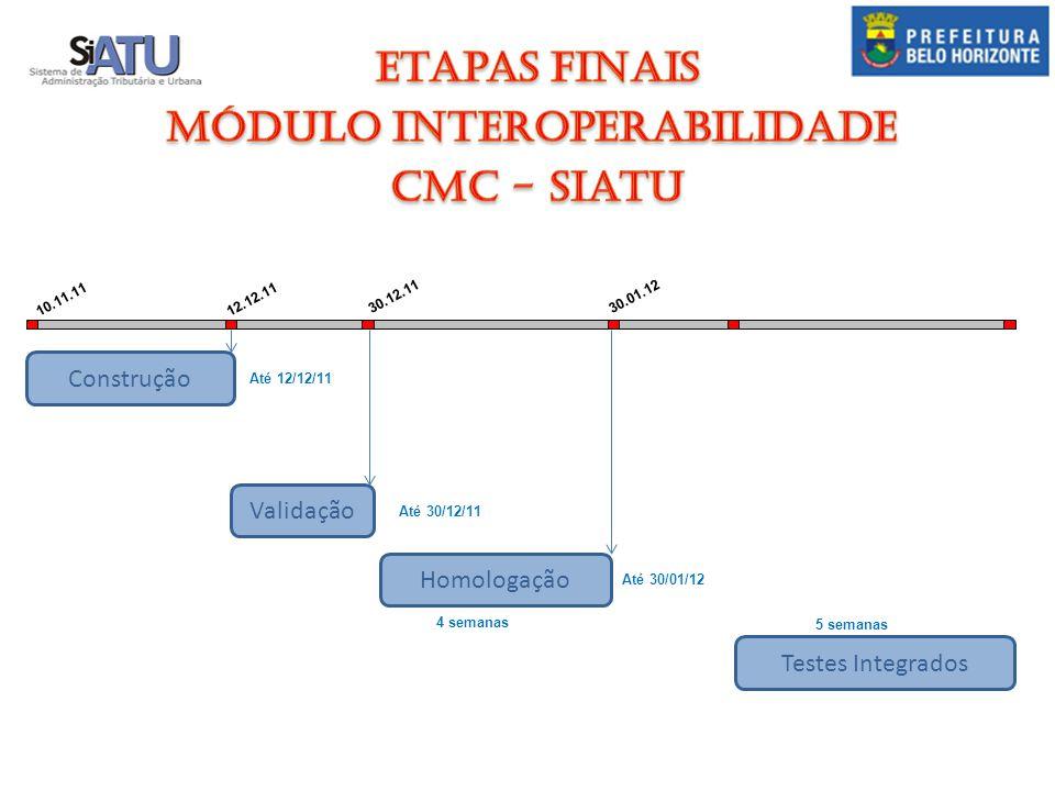 Finalizar a Revisão Construção Validação Homologação 10.11.11 09.12.11 30.11.11 10.01.201108.03.11 Até 30/11/11 Até 08/03/11 Até 09/12/11 A partir de 01/12/11 67 d.u.