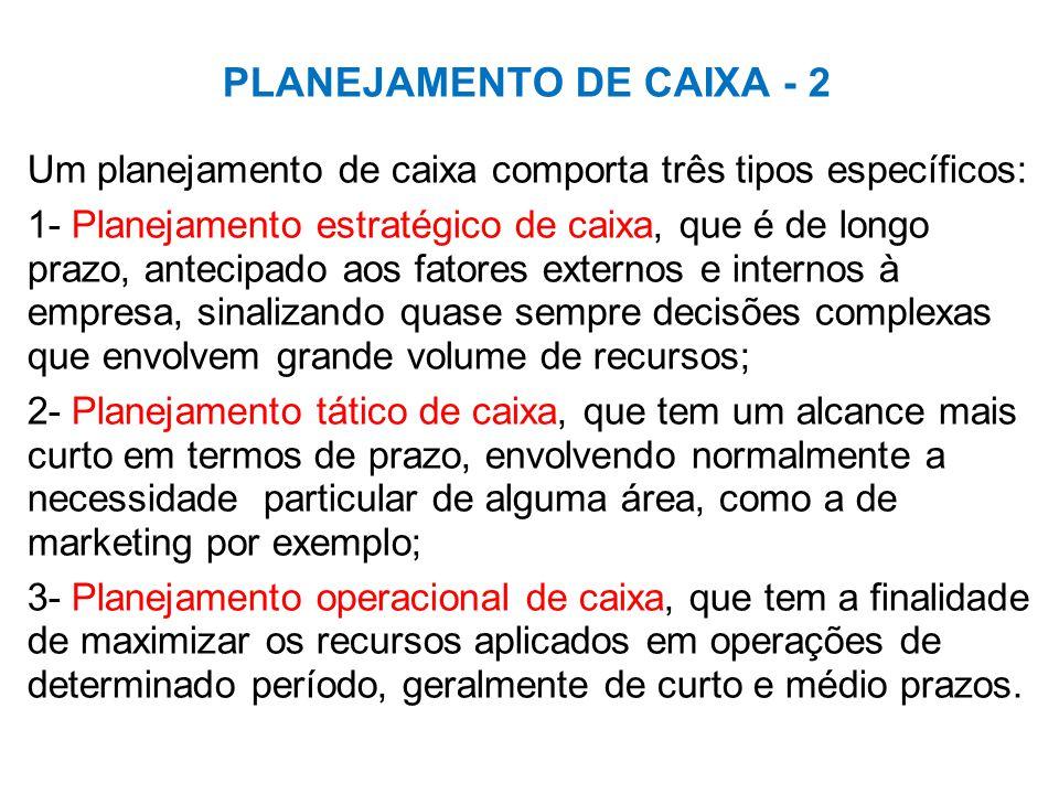 PLANEJAMENTO DE CAIXA - 2 Um planejamento de caixa comporta três tipos específicos: 1- Planejamento estratégico de caixa, que é de longo prazo, antecipado aos fatores externos e internos à empresa, sinalizando quase sempre decisões complexas que envolvem grande volume de recursos; 2- Planejamento tático de caixa, que tem um alcance mais curto em termos de prazo, envolvendo normalmente a necessidade particular de alguma área, como a de marketing por exemplo; 3- Planejamento operacional de caixa, que tem a finalidade de maximizar os recursos aplicados em operações de determinado período, geralmente de curto e médio prazos.