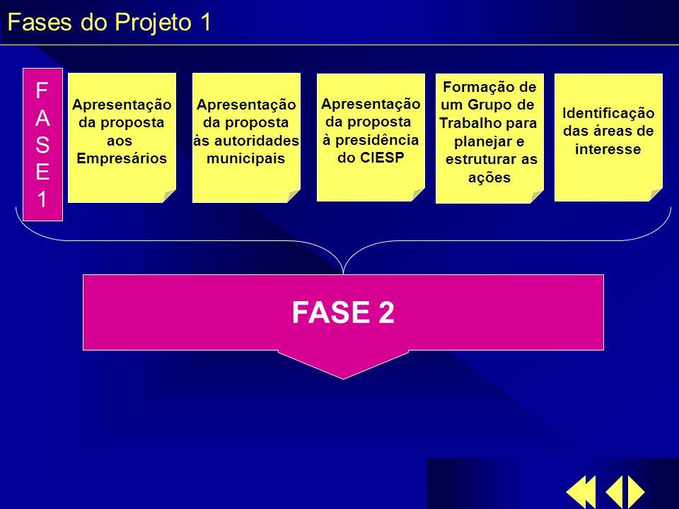 Fases do Projeto 1 Apresentação da proposta aos Empresários Apresentação da proposta às autoridades municipais Apresentação da proposta à presidência do CIESP Identificação das áreas de interesse Formação de um Grupo de Trabalho para planejar e estruturar as ações FASE1FASE1 FASE 2
