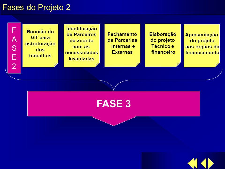 Fases do Projeto 2 Reunião do GT para estruturação dos trabalhos Identificação de Parceiros de acordo com as necessidades levantadas Fechamento de Parcerias Internas e Externas Elaboração do projeto Técnico e financeiro Apresentação do projeto aos orgãos de financiamento FASE2FASE2 FASE 3