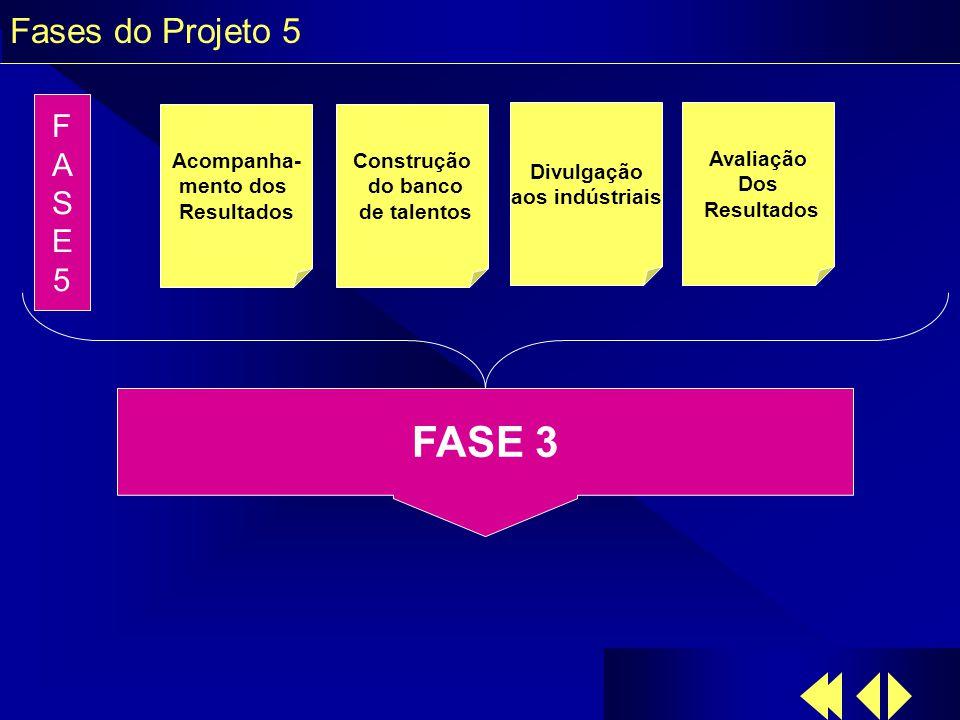 Fases do Projeto 5 Acompanha- mento dos Resultados Construção do banco de talentos Divulgação aos indústriais Avaliação Dos Resultados FASE5FASE5 FASE 3