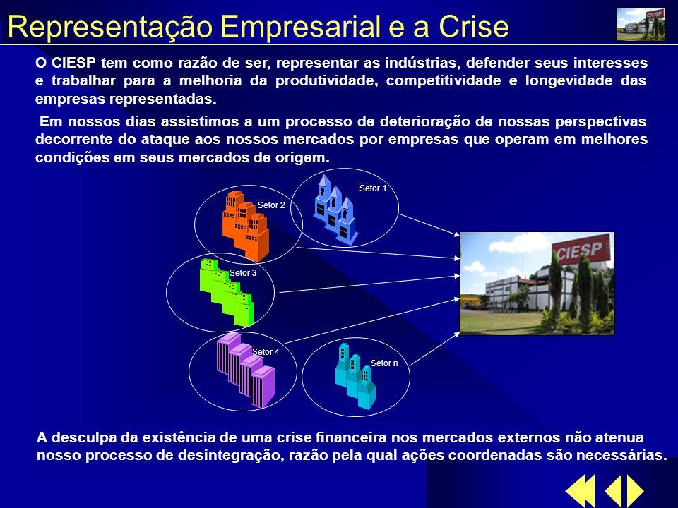 Representação Empresarial e a Crise O CIESP tem como razão de ser, representar as indústrias, defender seus interesses e trabalhar para a melhoria da produtividade, competitividade e longevidade das empresas representadas.