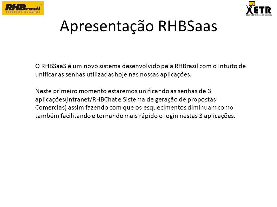 Apresentação RHBSaas O RHBSaaS é um novo sistema desenvolvido pela RHBrasil com o intuito de unificar as senhas utilizadas hoje nas nossas aplicações.