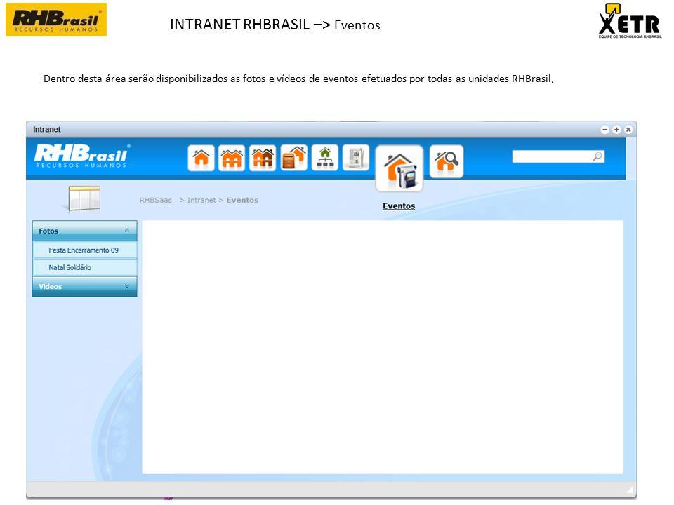 INTRANET RHBRASIL –> Eventos Dentro desta área serão disponibilizados as fotos e vídeos de eventos efetuados por todas as unidades RHBrasil,